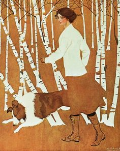 Life magazine cover art by Coles Phillips, October 25, 1911