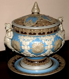 19th Century Villeroy and Boch covered decorated tureen, to include three pieces, signed on bottom,