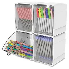 deflecto Tilt Desktop Storage Bin Delivery in Toronto - Basteln Organisation Home Office Organization, Craft Organization, Office Supply Storage, Magazine Organization, Stationary Organization, Organizing Ideas, Rangement Art, Craft Room Design, Playroom Design
