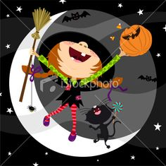 Cute witch in Halloween night Royalty Free Stock Vector Art Illustration