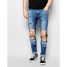 ASOS Super Skinny Jeans With Open Rips In Mid Blue ($30) ❤ liked on Polyvore featuring men's fashion, men's clothing, men's jeans, blue, mens torn jeans, mens super skinny jeans, mens skinny jeans, mens destroyed jeans and mens distressed skinny jeans