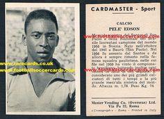 1959 Master Vending Company Cardmaster Sport Pelé Edson card from Italy, so rare! Soccer Cards, Football Cards, Baseball Cards, World Football, Football Soccer, Rarity, Ephemera, Italy, Sports