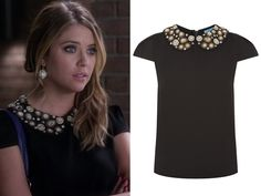 """Hanna wore this top with a beaded peter pan collar in Pretty Little Liars episode """"Cover for Me"""". Alice + Olivia Mary Embellishe..."""