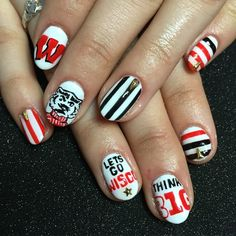 Willow accepted offer and celebrated with some Wisconsin Badger nails to break the news to her family and friends. Football Nail Designs, Football Nails, Nail Patterns, Wisconsin Badgers, University Of Wisconsin, My Nails, Fall Nails, Nail Art Stickers, Nail Art Hacks