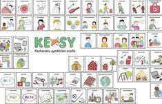 KESY on pelimuotoon muokattu kommunikaatioväline, jonka symbolit auttavat lapsen kanssa käytävän keskustelun etenemistä riippumatta siitä, miten lapsi kykenee sanallistamaan asioita. Materiaali on tuotettu koulun arjessa arvioinnin ja oppilashuollon tarpeisiin. Work Task, Study Skills, Pre School, Kindergarten, Playing Cards, Classroom, Holiday Decor, Emo, Kindergartens