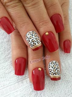 I love this 'nail look'!! I love a great red nail polish, but add animal print and I am in love. Will be getting this done to my nails, for sure! http://www.nailartdesignideas.com/