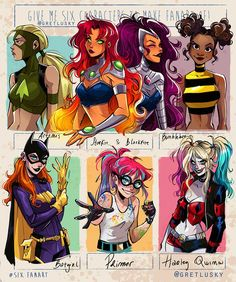 DC ladies by Gretlusky on DeviantArt Dc Comics Art, Comics Girls, Pretty Art, Cute Art, Character Inspiration, Character Art, Teen Titans Fanart, Art Style Challenge, Drawing Challenge