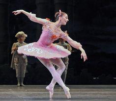 Marianela Nunez as Aurora in the Rose Adagio from The Sleeping Beauty. Photo: Dave Morgan
