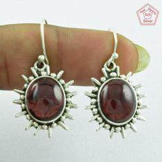 Garnet Stone 925 Sterling Silver Classy Design Earrings Supplier India E2843…