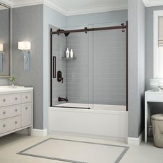 Direct To Stud Tub Wall Kit In Metro Ash Grey With Left Hand Tub And Dark  Bronze Door 106344 000 001 101   The Home Depot