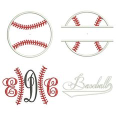 4 Pack Sports Applique Machine Embroidery Designs - Baseball