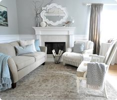 Coastal living room, calming colors. Paint in picture is a custom mix, but blogger said that it's comparable to SW Sea Salt.