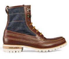 Dsquared2 Mens Cowhide-Denim Lug Boots Outdoorsman Dark Brown - 2013-2014 Fall Autumn Winter Fashion Footwear Collection