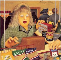 Art by Beryl Cook: The Grocery Check Out Girl Bird's Custard, Beryl Cook, English Artists, British Artists, Art Themes, Art For Art Sake, Cook Art, Girls Shopping, Female Art