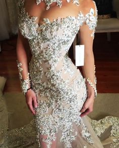 Leah Da Gloria Glamorous Sheath Wedding Gown Glamorous Encrusted White Sheath Wedding Dress / Bridal Gown with High Neck, Long Sleeves and a Train. Dress by Leah Da . Fancy Wedding Dresses, Western Wedding Dresses, Stunning Wedding Dresses, Bridal Dresses, Beautiful Dresses, Wedding Gowns, Wedding Dress Princess, Gatsby Wedding Dress, Princess Fairytale