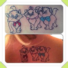 Here's my aristocat tattoo!          Toulouse, Marie & Berlioz!                           A close up and the position on my back! I love it!!