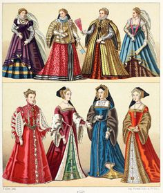 European women's dresses, XVIth century: France, England, Italy. From Geschichte des Kostüms (The costume history) vol. 3, by Auguste Racinet, Berlin, 1888. Via archive.org.