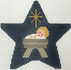 Baby Jesus Star needlepoint from Kathy Schenkel Xmas Cross Stitch, Just Cross Stitch, Cross Stitch Charts, Cross Stitch Designs, Cross Stitching, Cross Stitch Embroidery, Cross Stitch Patterns, Christmas Canvas, Christmas Cross
