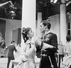 Audrey Hepburn and Mel Ferrer on set filming Mayerling, 1957. Mayerling was a live television event broadcasted over NBC on February 24, 1957 to American audiences. The production was directed by Anatole Litvak, who had previously filmed a French version of Mayerling two decades earlier in 1936. This was one of two performances featuring real life married couple Audrey Hepburn and Mel Ferrer.  In 1956 Audrey and Mel starred the film version of the novel War and Peace by Leo Tolstoy.