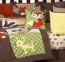cute  luxurylamb.com has this  Forest Friends Crib Bedding for- $189.99  Item No. L023407  Features:  Includes: Comforter, Bumper, Fitted Sheet, Dust Ruffle, Diaper Stacker, Toy Bag, Decorative Pillow, 2 Window Valances