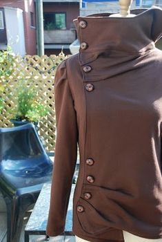 - Brown off-centred sweater jacket :)