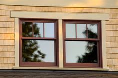 Craftsman style double hung windows.