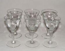 SET of 6 VINTAGE HUGHES CORNFLOWER STEMWARE CRYSTAL GLASS LIQUOR CORDIALS ~ MINT