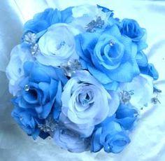 black, white and bluewedding | Wedding Bouquet Bridal Silk flowers HOT PINK FUCHSIA WHITE BLACK 17pc