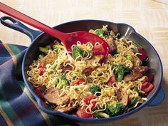 Easy Pork Skillet - Enjoy the flavors of pork, ramen noodles and fresh veggies in this done-in-a-flash stir-fry.