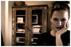Joy posted on her blog: ''The only way to get through housecleaning day... red lipstick! (and PS how rad is that chicken-wire wardrobe I found!? Did you guys know I'm an antique frique? Yes. I am.''