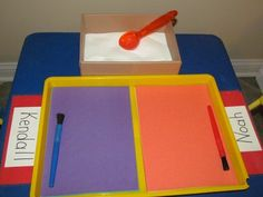 Salt Tray - child chooses construction paper, adds one scoop of salt to tray… Writing Center Preschool, Preschool Names, Preschool Centers, Kindergarten Writing, Kindergarten Literacy, Preschool Classroom, Early Literacy, Teach Preschool, Classroom Ideas