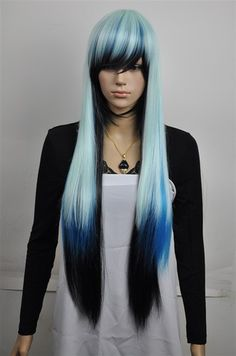 New Long Charm Lolita blue Black Mixed Straight Anime Cosplay wig +free wig cap
