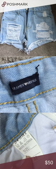 Brandy Melville Jean High Waisted Shorts super super cute just too small on me! NO trades Brandy Melville Shorts Jean Shorts