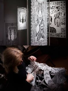 karen bit vejle working on her exhibition at the  hans christian anderson exhibition