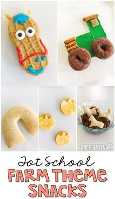 Plemons' Kindergarten - These yummy snacks are perfect . Plemons' Kindergarten - These yummy snacks are perfect for a farm theme in tot school, preschool, or the kindergarten classroo. Farm Theme Crafts, Farm Animal Crafts, Preschool Cooking, Preschool Snacks, Preschool Plans, Farm Animals Preschool, Preschool Farm Theme, Farm Activities, Nutrition Activities