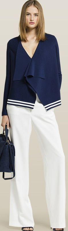 ⌘ {In the suburbs} living life in the suburbs may include car pools, PTA… Beautiful Outfits, Cool Outfits, Fashion Outfits, Runway Fashion, Womens Fashion, Fashion Trends, Classy Casual, Nautical Fashion, Carolina Herrera