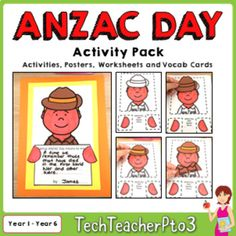 ANZAC Day Activity Pack Craft Literacy Activities Posters and Vocabulary Cards Anzac Day, Vocabulary Cards, Literacy Activities, Writing Prompts, Special Day, Classroom, Student, Education, Learning