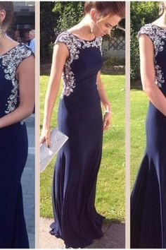 Stunning Navy Blue Prom Dresses Long Mermaid Beaded Bodice Elegant Women Formal Party Gowns UK12407