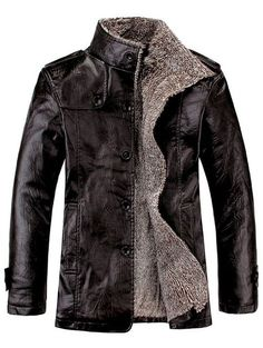 Stand Collar Flocking Single Breasted PU-Leather Jacket