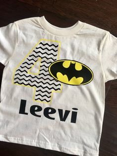 Boy's Batman Birthday Shirt Birthday Number and name can be personalized.  Please provide personalization in the box above