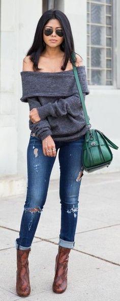 #spring #fashion | Off Shoulder Gray Sweater + Ripped Denim |Walk In Wonderland