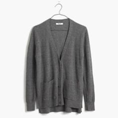 Madewell Spring-Weight Cardigan Sweater in Gray Maybe wore this once -- it's in perfect condition. perfect lightweight cotton cardigan in a layering-friendly straight shape. Toss it in your tote—this is the sweater you'll want with you all season long.   •True to size. •Cotton. •Machine wash. Madewell Sweaters Cardigans
