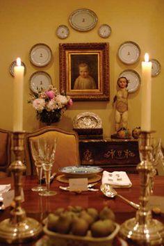 plates arranged around portrait