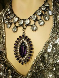 HUGE Edwardian collar necklace dramatic Gothic PURPLE rhinestone drop...