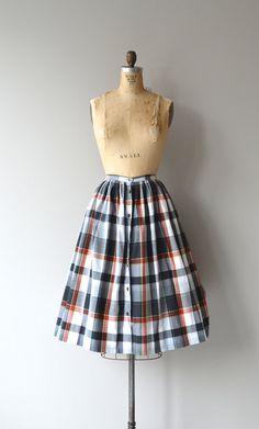 Long Weekend skirt button front cotton plaid skirt by DearGolden
