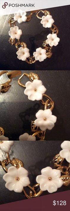 Trifari rare white enamel collection bracelet Like new,golden tone with white enamel ,ca from 1960s Trifari Jewelry Bracelets