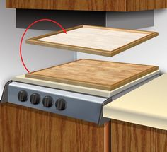 I used some leftover laminate flooring to make a stove cover in my motorhome. It makes for excellent storage space when the stovetop is not being used. It also works well because the foam underneat...