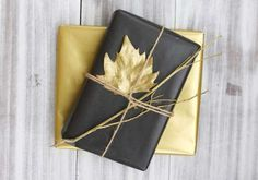 Looking for an eye-catching way to make your presents stand out? We love this gilded leaf, from Germ... - It's Pretty Nice