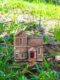 Miniature Victorian house OOAK ceramic by theCherryHeart on Etsy