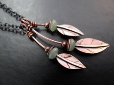 Falling Leaves Copper Charm Necklace by Lost Sparrow Jewelry